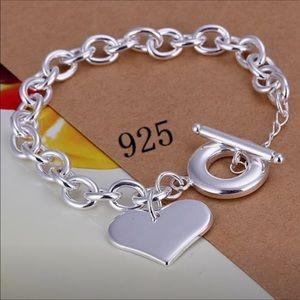 Sterling Silver heart link bracelet ❤️